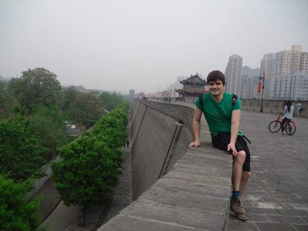 Martin et Muraille de Xi'An, Shanxi, Chine