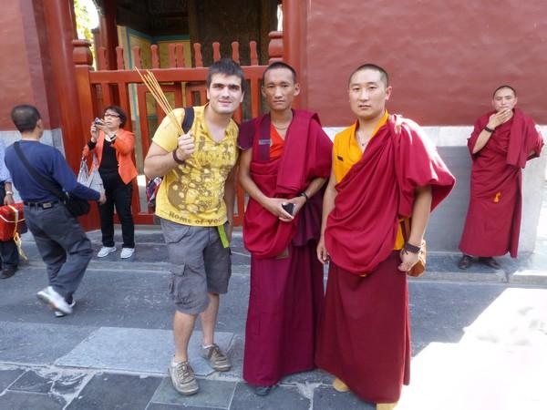 Martin et moines tibétains