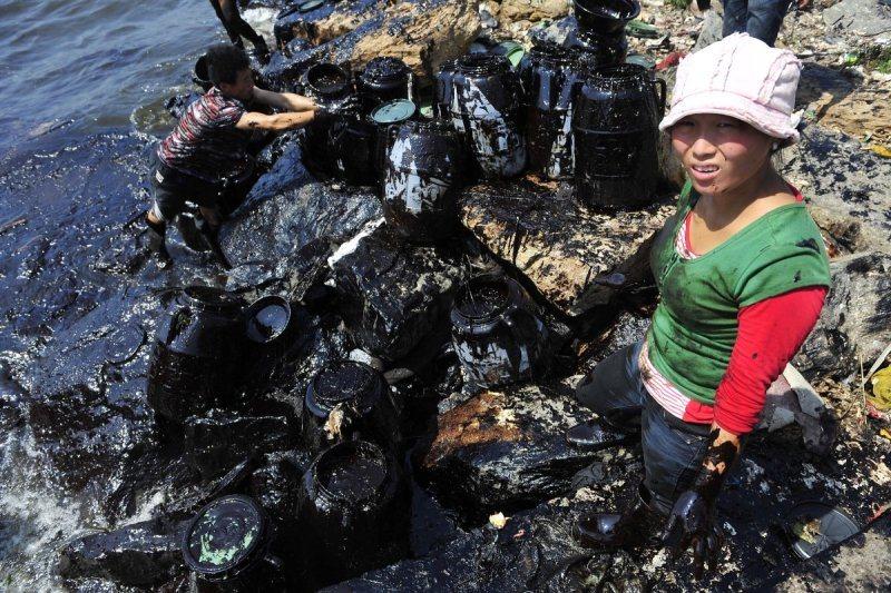 Pêcheur tente de nettoyer marée dans un port du liaoning